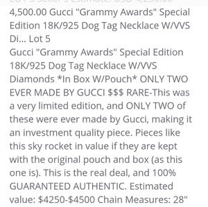 Gucci Accessories - GUCCI GRAMMY AWARD /LIMITED EDITION